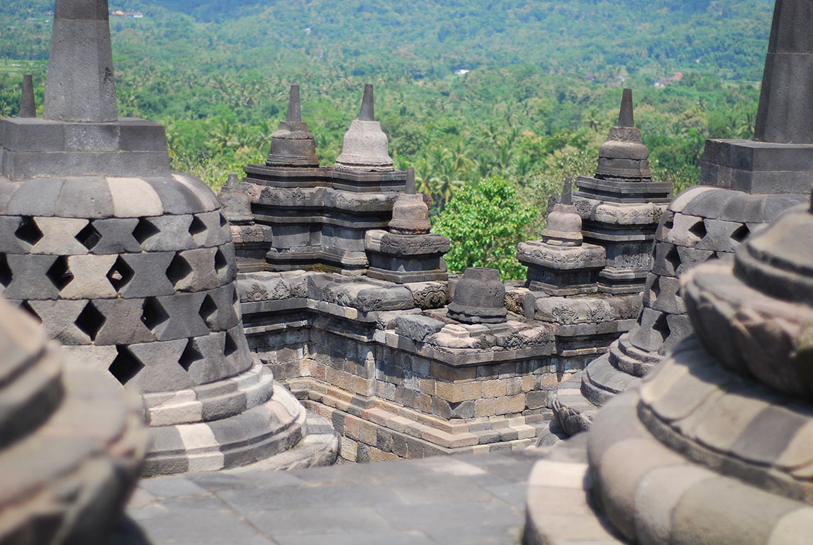 Borobudur, or Barabudur, is a 9th-century Mahayana Buddhist Temple in Magelang, Central Java, Indonesia
